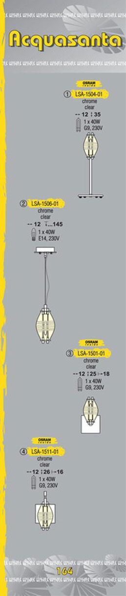 Технические характеристики светильника Acquasanta LSA-1506-01