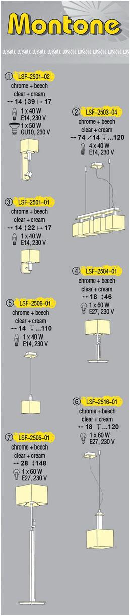 Технические характеристики светильника Montone LSF-2503-04