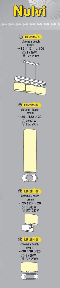 Технические характеристики светильника Nulvi LSF-2113-03