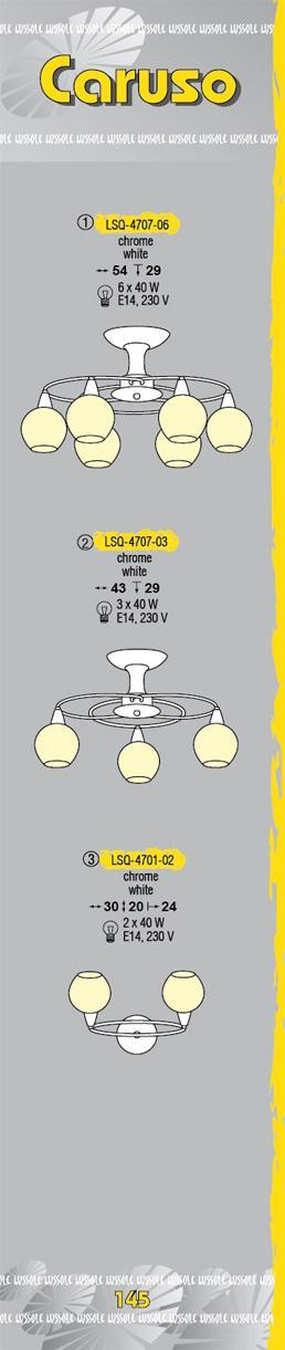 Технические характеристики светильника Caruso LSQ-4707-06