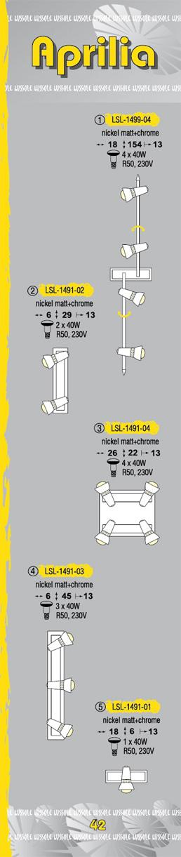 Технические характеристики светильника Aprilia LSL-1491-04