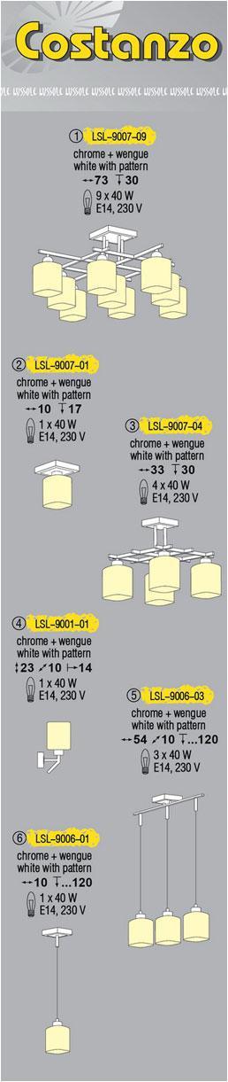 Технические характеристики светильника Costanzo LSL-9007-09