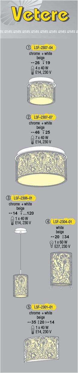 Технические характеристики светильника Vetere LSF-2307-04
