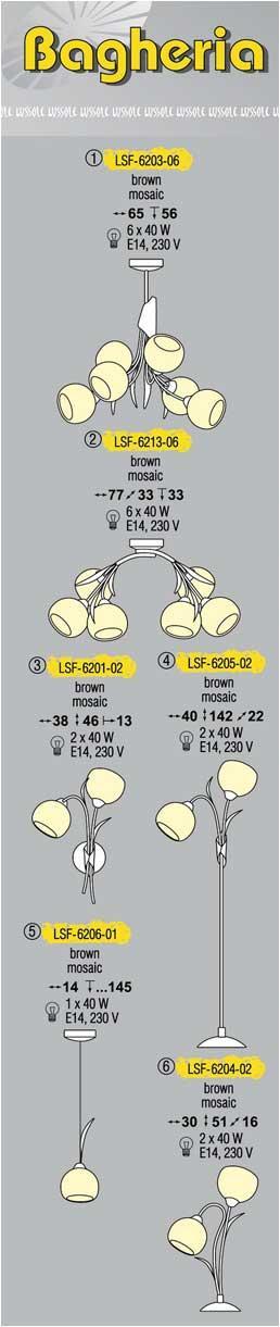 Технические характеристики светильника Bagheria LSF-6203-06