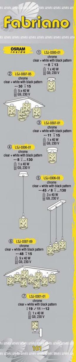 Технические характеристики светильника Fabriano LSJ-0307-05