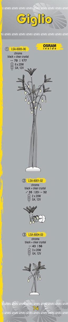 Технические характеристики светильника Giglio LSA-6001-02