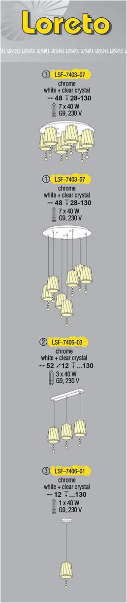 Технические характеристики светильника Loreto LSF-7406-03