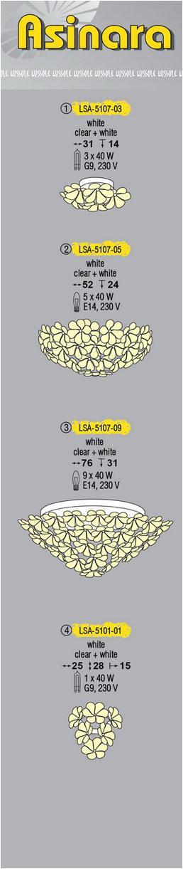 Технические характеристики светильника Asinara LSA-5107-05