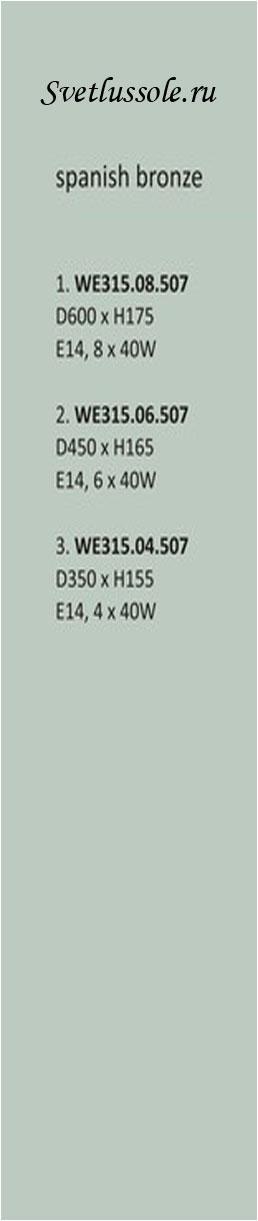 Технические характеристики светильника WE315.08.507_wertmark