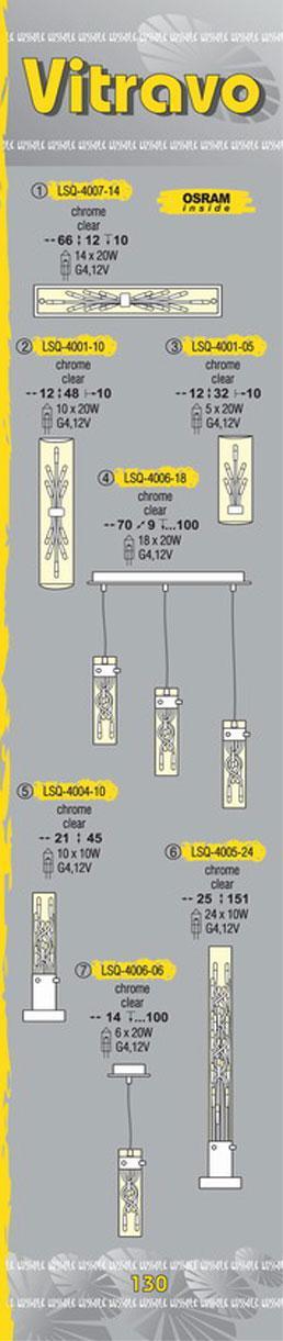 Технические характеристики светильника Vitravo LSQ-4006-06